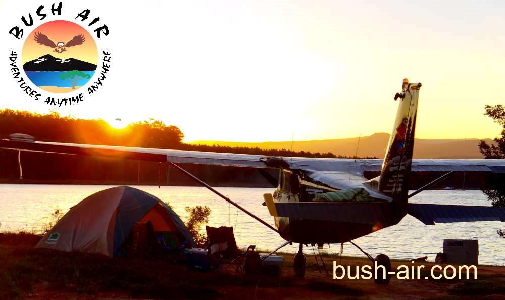 Airplane camping. Bush Air Cessna 172 on the shore of a lake.